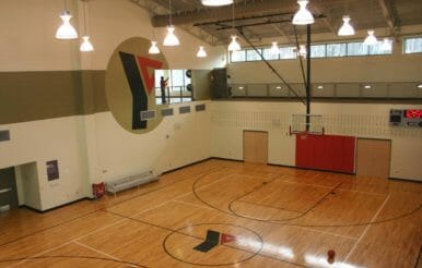 Basket ball court construction project at Kraft Family YMCA.