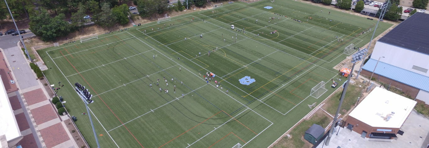 Aerial view of University of North Carolina athletic fields construction management.