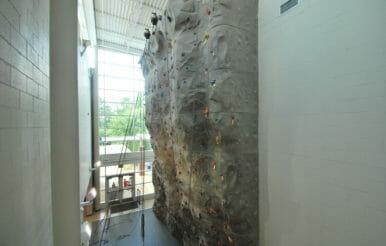 Kerr Family YMCA rock climbing wall construction project.