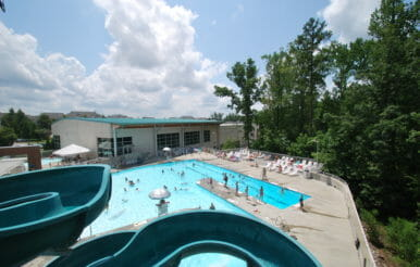 Kerr Family YMCA pool and slide construction project.