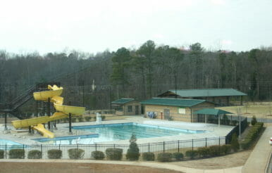 Kraft Family YMCA Pool and slide construction.