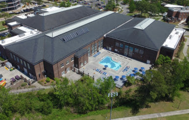 View of UNCW university pool and recreation center contracting project.