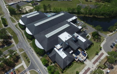 Aerial view of UNCW university recreation center contracting project.