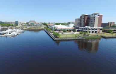 Wilmington View from water of North Carolina Convention Center construction project.