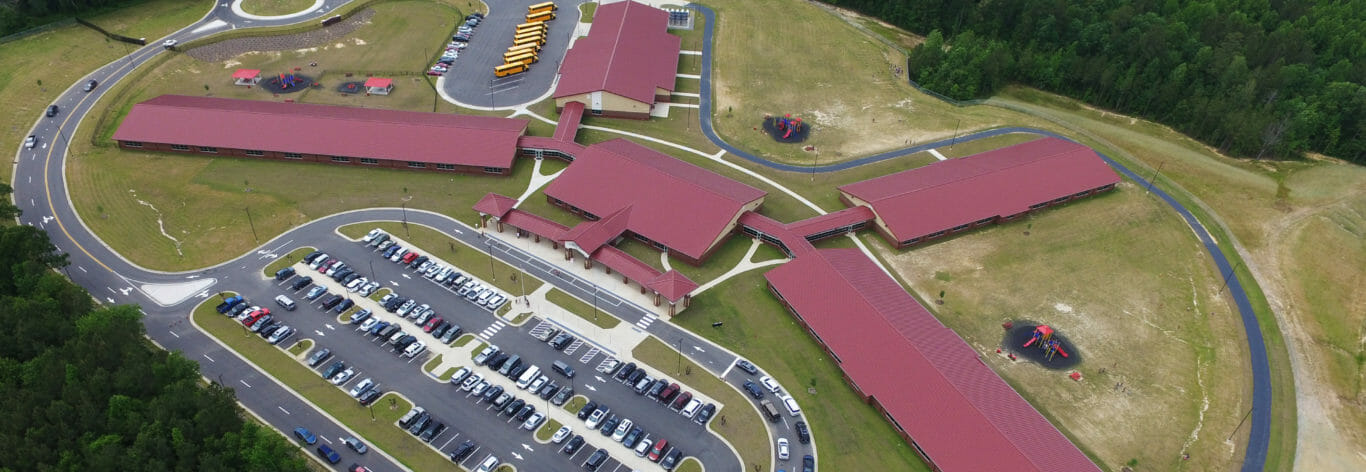 Full aerial view of Benhaven elementary school contracting job.