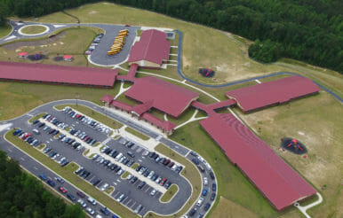 Full aerial view of Benhaven elementary school contracting job.