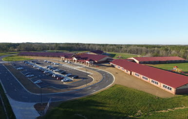 Aerial view of Benhaven Elementary School construction job.