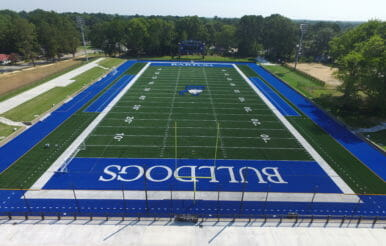 Barton College Turf football field construction in North Carolina.