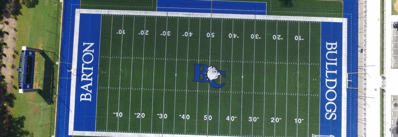 Aerial View os Barton College football field general contracting job.