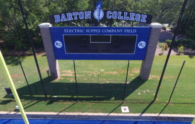 Barton College football field score board.