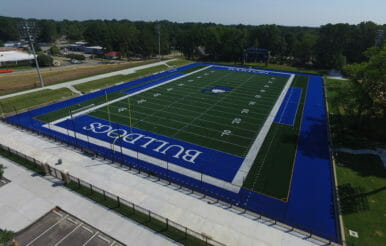 Aerial image of Barton College Bulldogs Turf football field construction in North Carolina.